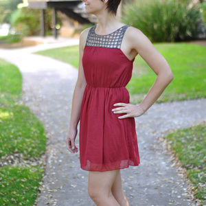 Anthropologie Willow and Clay Beaded Top Red Dress